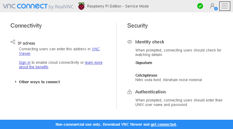 RealVNC® VNCconnect画面