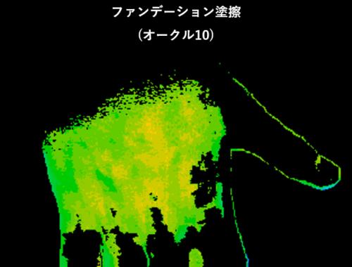 オークル10を塗布した肌のハイパースペクトル解析事例