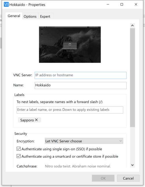 VNC® Viewerの設定画面